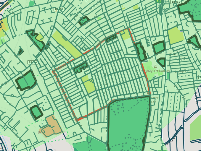 Greenspace coverage map for 5-minutes walk
